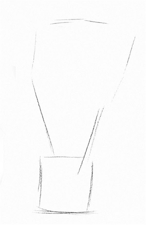 1、画出白掌盆栽的大概外轮廓线,注意物体形态。  素描白掌的绘画步骤一 2、继续画出白掌盆栽的内部轮廓线。  素描白掌的绘画步骤二 3、擦除多余辅助线,画出白掌的轮廓线,线条清晰。  素描白掌的绘画步骤三