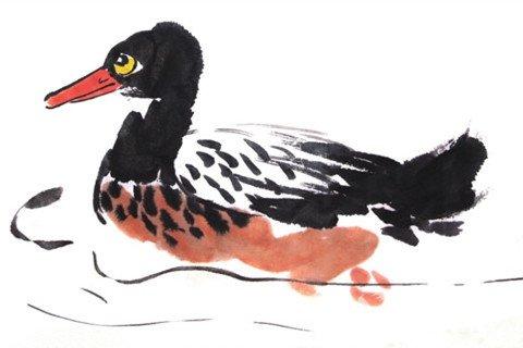 水墨野鸭绘画技法