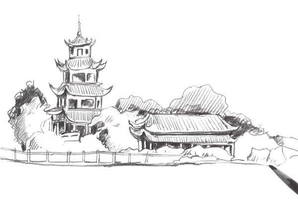 速写塔楼的画法步骤(2)