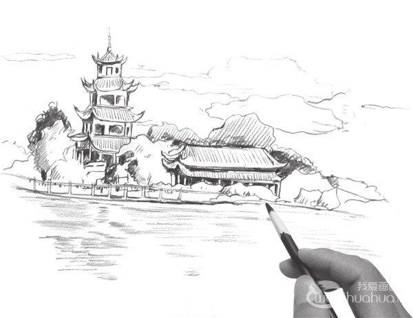 速写塔楼的画法步骤(4)