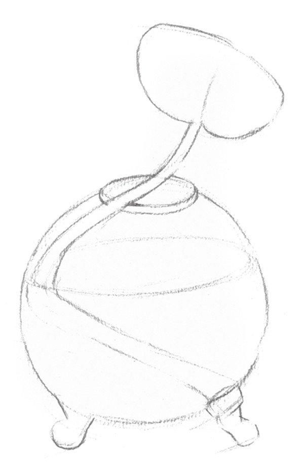 1、画出物体的大概轮廓线,初步定下物体的形态位置。  素描水葫芦的绘画步骤一 2、继续刻画物体的内轮廓线。  素描水葫芦的绘画步骤二 3、擦除多余辅助线,画出水葫芦的轮廓线,线条要清晰。  素描水葫芦的绘画步骤三