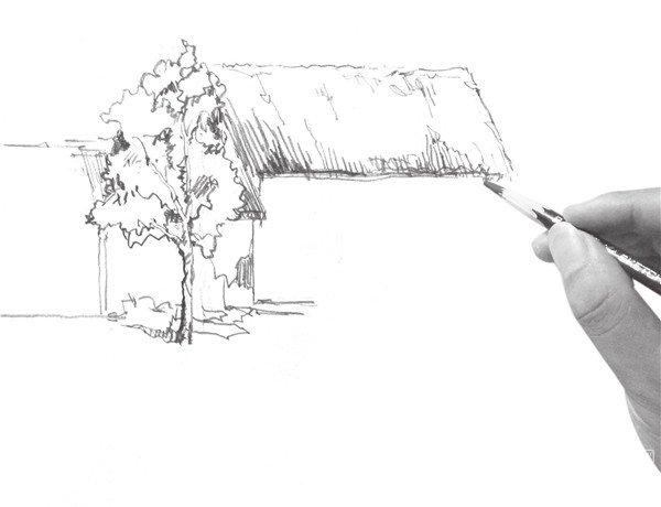 速写小屋的画法步骤三