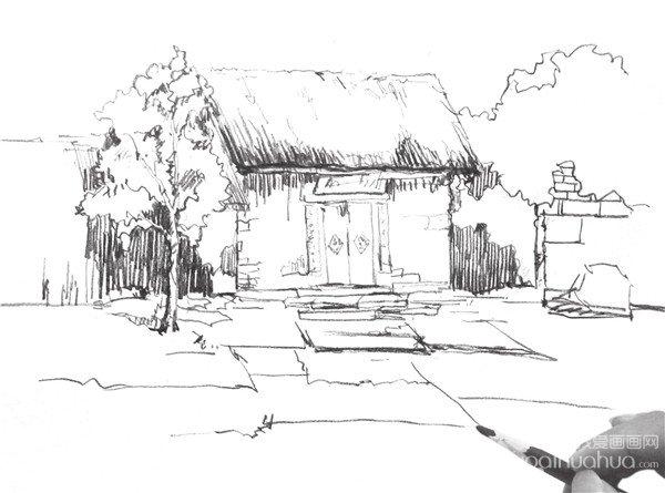 速写小屋的画法步骤十一 绘画 时要注意屋顶与屋子的衔接关系,使得