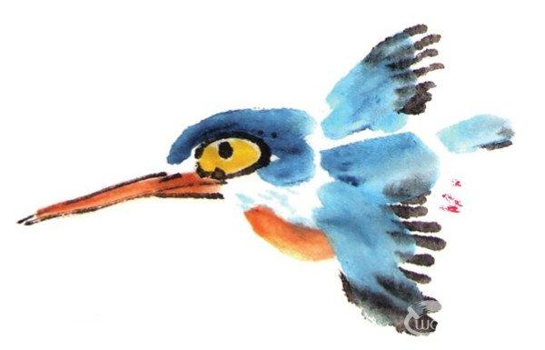 水墨翠鸟的绘画教程 5