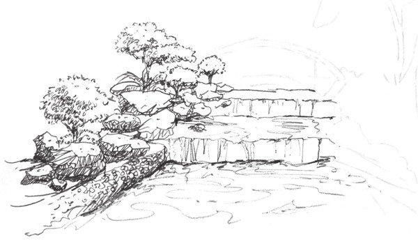 学画画 速写教程 速写场景 > 速写山涧的绘画教程(3)      3,添加景物