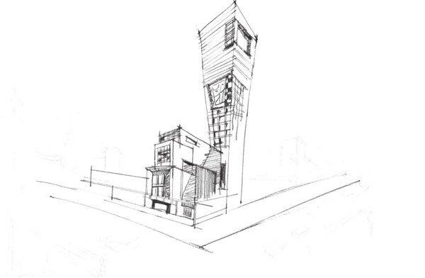 4,加深场景中的透视线条,强调出建筑物的透视线,注意颜色要深浅有