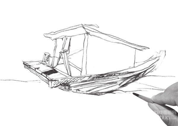 速写木船的画法步骤五