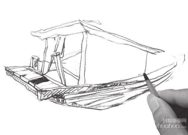 速写木船的绘画教程(2)