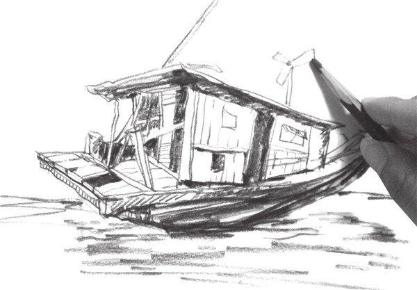 速写木船的画法步骤八