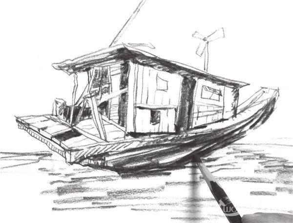 速写木船的画法步骤九