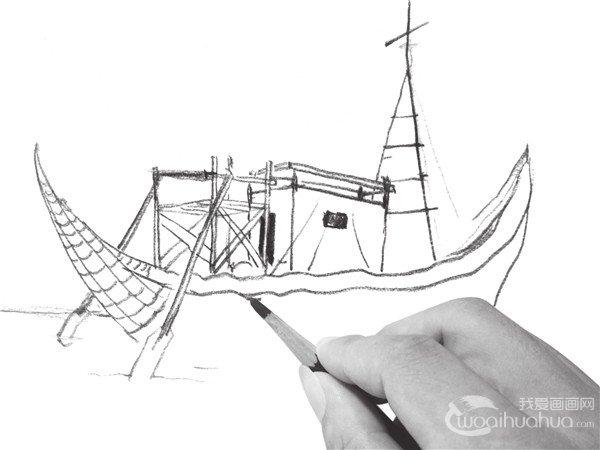 速写帆船的画法步骤二