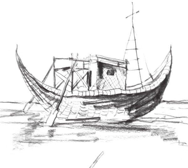 速写帆船的画法步骤九