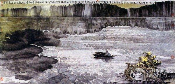 江�鬯晒�画山水作品欣赏