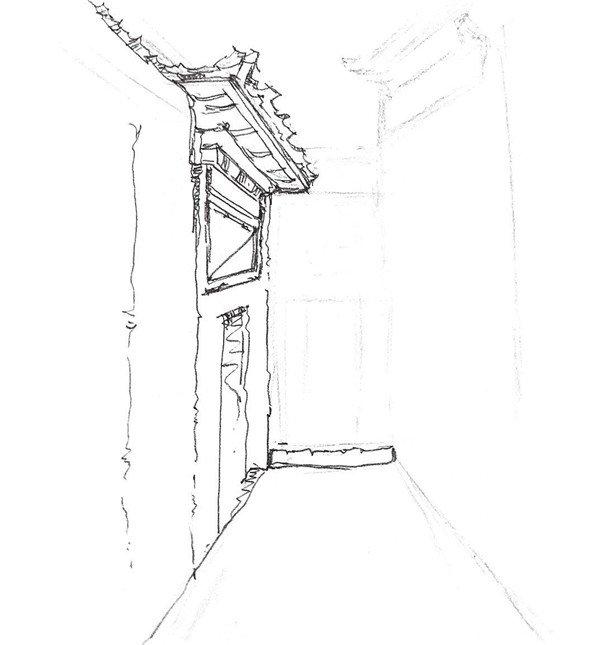 学画画 速写教程 速写场景 > 速写胡同小巷的绘画步骤(2)