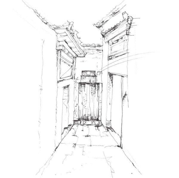 绘画步骤六 我们刻画胡同小巷时要把握好细节,地面的刻画,以及透视