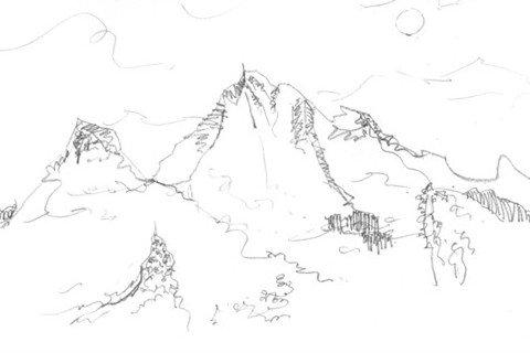 速写雪山的绘画技法图片