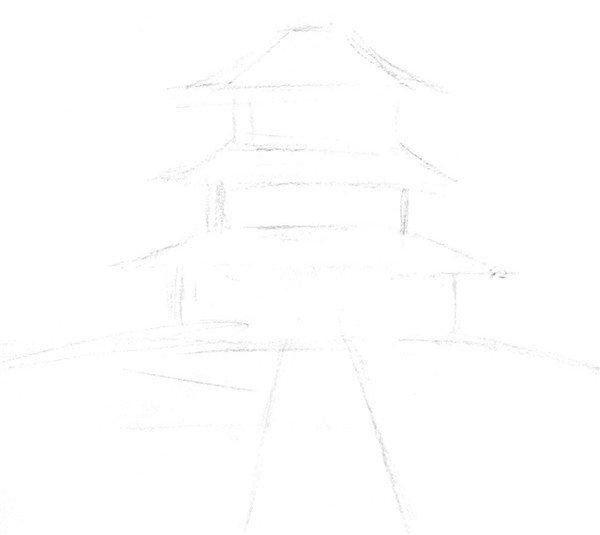 速写天坛的绘制步骤    1,大胆使用简单的线条,粗略勾勒出场景