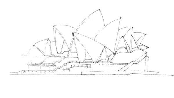 速写悉尼歌剧院的绘制步骤三