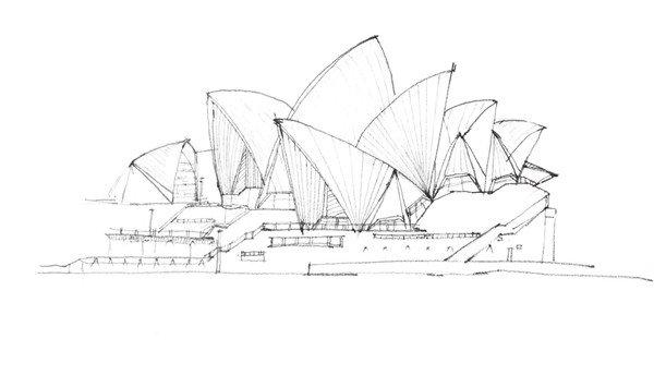 速写悉尼歌剧院的绘制步骤四