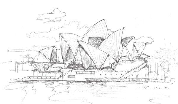 速写悉尼歌剧院线条要肯定,表现建筑物坚硬的质感,注意画面中建筑图片
