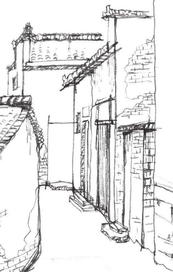 速写江南小巷的绘制步骤五