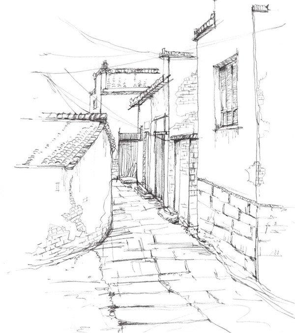 学画画 速写教程 速写场景 > 速写江南小巷的绘画技法(6)