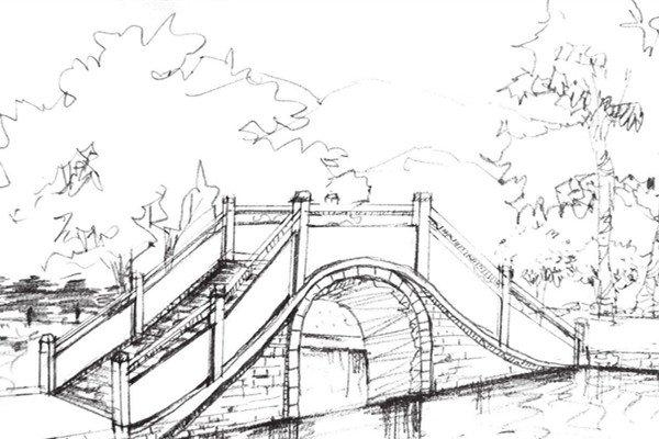 速写石拱桥的绘画技法