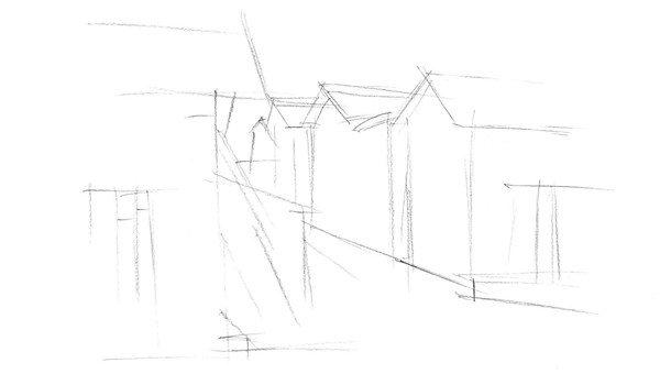 二,速写村庄的绘画步骤    1,用虚线勾勒出房屋建筑物的大致轮廓