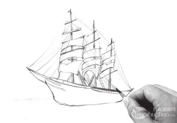 速写海上帆船的绘制步骤五
