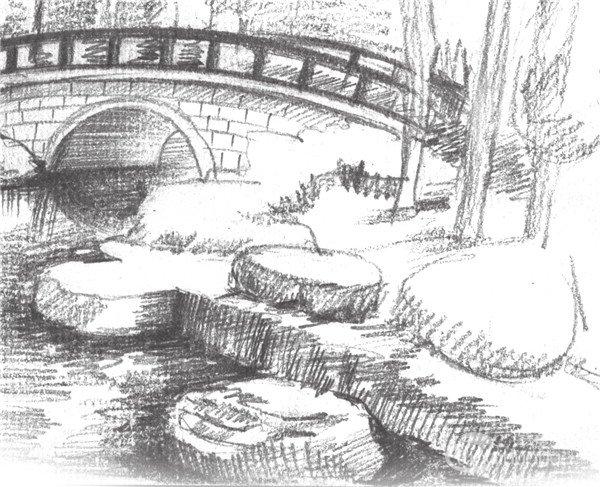 学画画 素描教程 素描风景 > 素描植物园的绘画技法(3)      4,画出湖