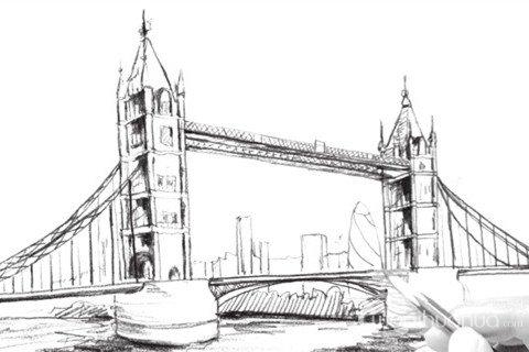 速写塔桥的绘画技法