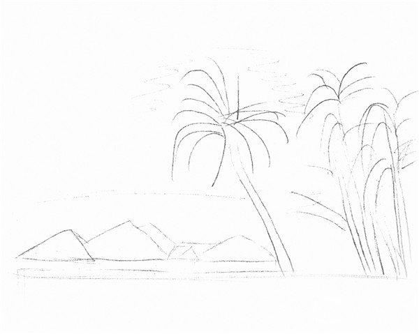 素描海边风景的绘画技法(2)