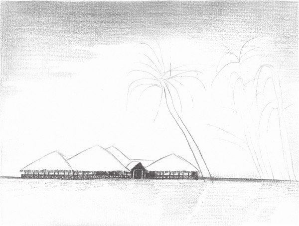 4、加重风景最暗部,拉开画面的空间关系,使景物的视野开阔,画面感觉非常出色。  素描海边风景的绘画步骤四 5、画出海面上的水纹和倒影。这部分要用比较虚的笔触来表示水波的纹理。  素描海边风景的绘画步骤五