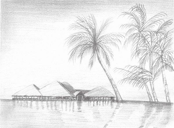素描海边风景的绘画技法 4