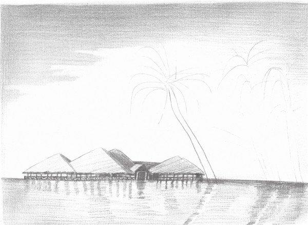 素描海边风景的绘画步骤五