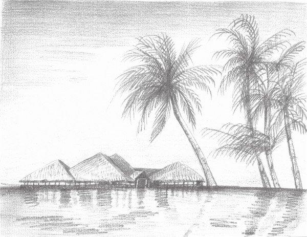素描海边风景的绘画技法 6高清图片