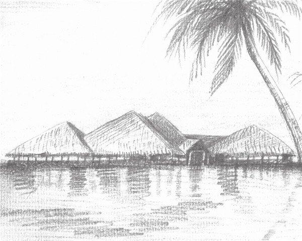 素描海边风景海边房屋