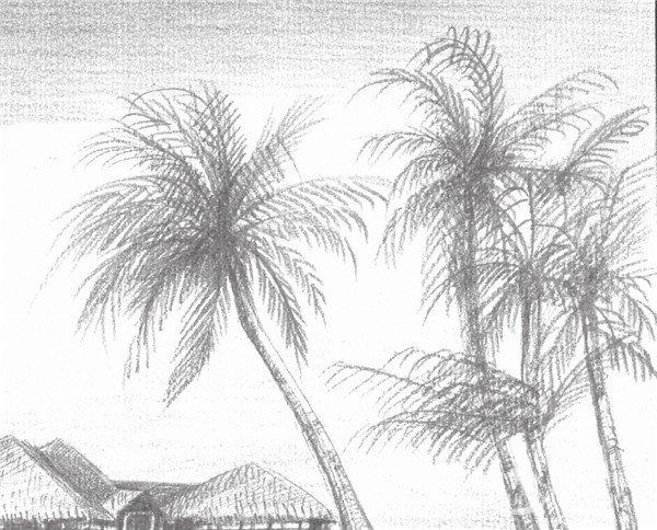 家乡风景画简笔画-素描海边风景的绘画技法 5