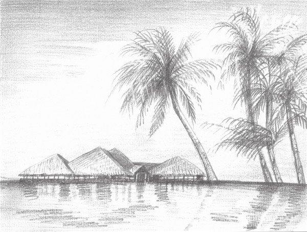 10、加重椰子树的暗部,整体调整景物的色调,并把画面的色调比表现得强烈一点。  素描海边风景的绘画步骤十 11、这部分开始用细小的铅笔点状刻画海边的房屋,以及房屋的细节部分。  素描海边风景的绘画步骤十一 12、整体调整黑、白、灰关系,用橡皮擦出椰子树的层次关系,这样海边风景就画完了。  素描海边风景的绘画步骤十二