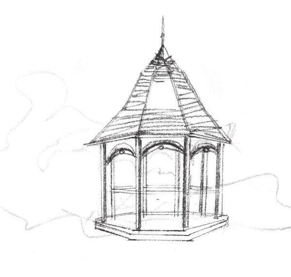 2、修改亭子的轮廓线,并将亭子的造型细致刻画出来,注意对表现亭子棱角的线条把握。  速写凉亭的绘制步骤二 3 添加亭子的细节,并用阴影来表现体积感,画亭子顶部的时候要注意线条的变化。  速写凉亭的绘制步骤三