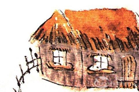 国画茅草屋的绘画教程
