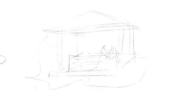 速写小方亭的绘制步骤二 3,将画面中的树画出来,注意树的线条,树干