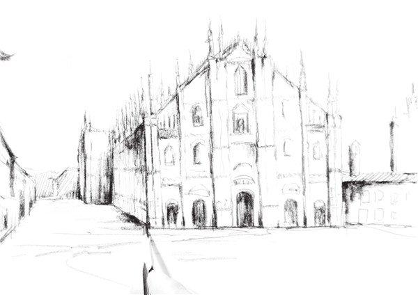 速写欧式建筑的绘画技法图片