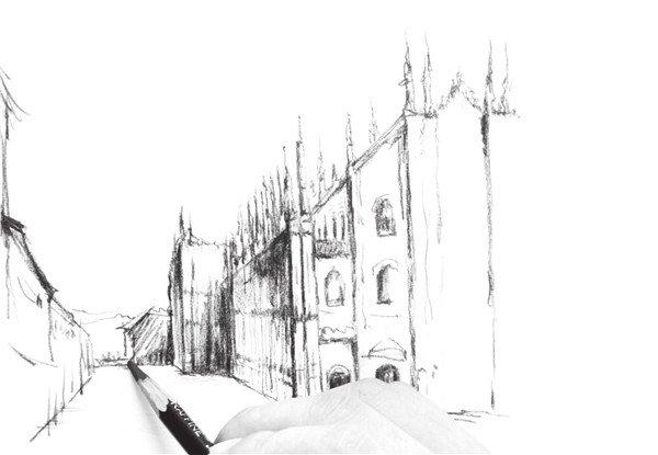 速写欧式建筑街道