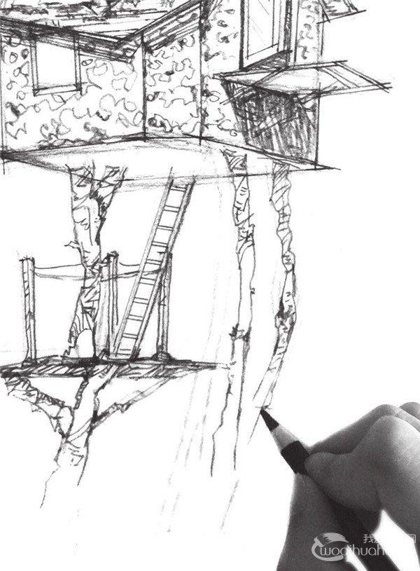 速写空中小屋的绘制步骤十一