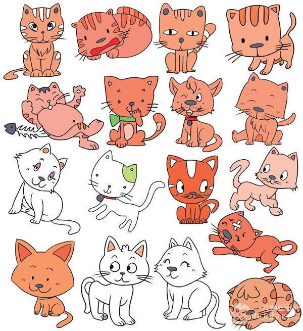 分享动物类 简笔画.    猫