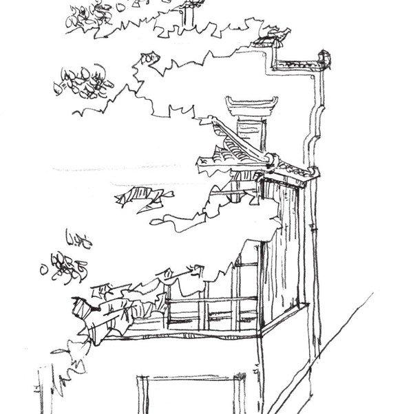 学画画 速写教程 速写场景 > 速写徽派建筑的绘画教程(4)      7,一直