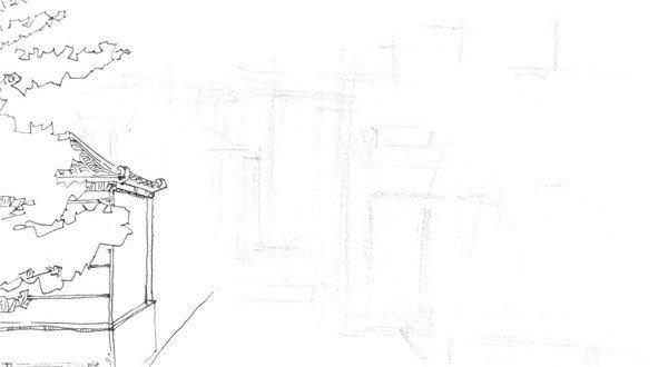 速写徽派建筑的绘画教程(3)