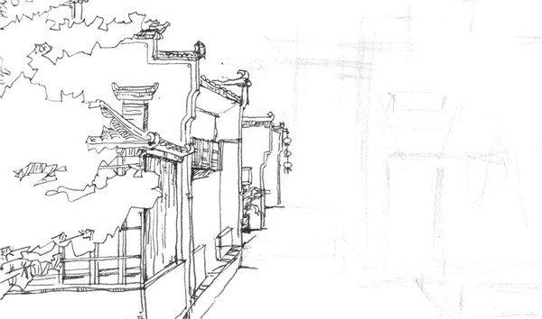 速写徽派建筑的绘制步骤十二