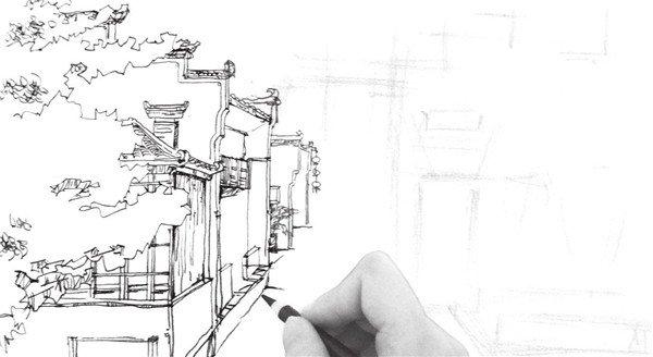 速写徽派建筑的绘制步骤十一